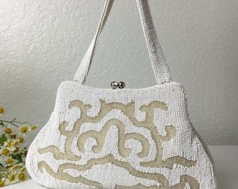 60's White Beaded Handbag