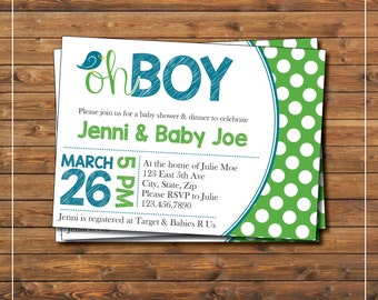 Oh Boy Baby Shower Invitation | blue green polka dots | baby boy shower | Its a boy