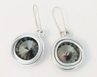 Gray And Silver, Gray And Silver Earrings, Gray Jewelry, Gray Earrings, Silver Gray Earrings, Stone Wrapped Earrings, Fashion Earrings, Gray
