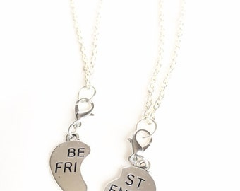 Silver Best Friend Necklace with Blue Hearts,Friendship Necklace Set of Two,Best Friend Jewelry,BFF Charm Necklace,Best Friend Gift,Bff Gift