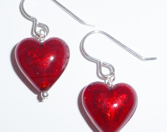 Red Venetian Murano Glass Earrings