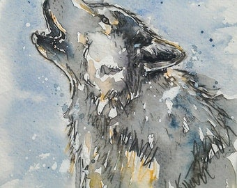Wolf art watercolour painting,howling grey wolf, Wolf Calling