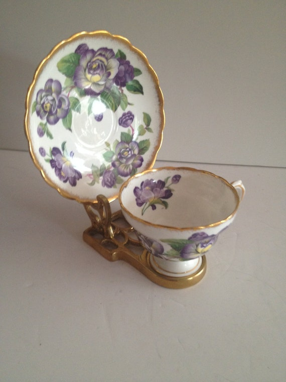 Rosina Bone China 5064 Footed Cup Amp Saucer Set With Brush Gold