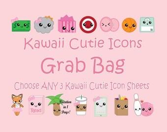 Kawaii Grab Bag, Kawaii Planner Stickers, Choose ANY 3 Kawaii cutie Icons in my Shop, for Erin Condren, Mambi Happy