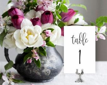 Wedding Table Numbers, Printable Table Numbers Template | Wedding Reception | Printable | No. EDN 5005
