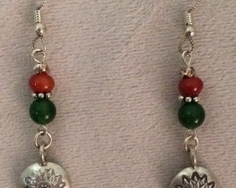 Jade, Carnelian & Silver Earrings