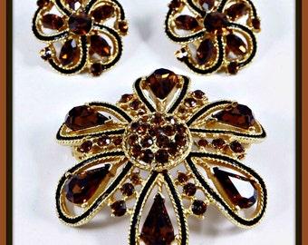 Vintage Rhinestone Demi-Parure, Vintage Rhinestone Jewelry Set, Vintage Rhinestone Earrings, Vintage Rhinestone Brooch, Vintage Enamel