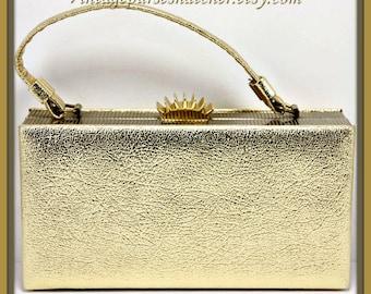 Vintage Gold Box Purse,Vintage Box Purse,Vintage Handbag,Vintage Evening Bag,Vintage Gold Lamé Box Purse,Vintage Gold Box Purse,Pocketbook