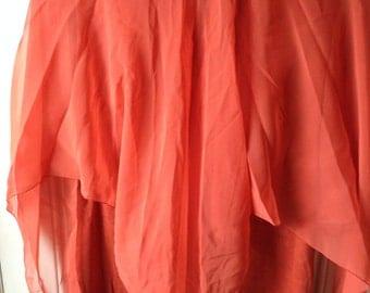 Plus size vintage 1970s orange gown prom