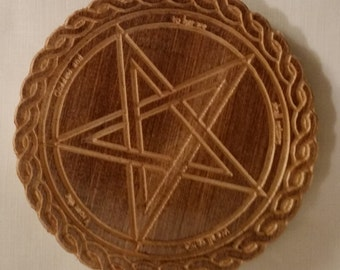 """Wiccan / Pagan 6"""" Pentacle Altar Plaques Cherry  Wood"""