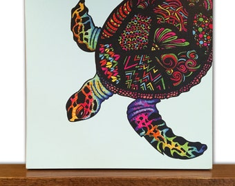 Animal Canvas Art - Turtle Wall Art - Home Decor - Tribal Art - Drawing - Markers
