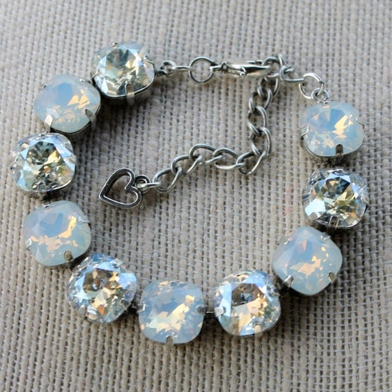 12mm Cushion Cut Swarovski Crystal Bracelet in White Opal and Moonlight-empty cup chain bracelet