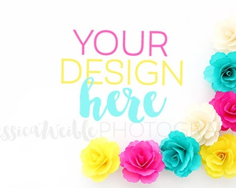 Teal and Pink Flowers Styled Desktop, Styled Stock Photography, Styled Mockup, Product Background Photo, Feminine Stock - #25