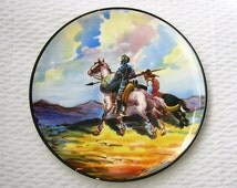 Signed former plate, plate ceramic, art and collection, Spanish art, wall decor, Don Quixote and Sancho Panza.