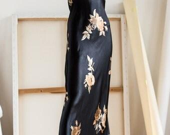 Bias Cut Gown | Satin Maxi Halter Dress | Black  Satin Dress | Floral Dress | Bias Cut Maxi Dress | Black Halter Dress | 1990's Grunge Gown|