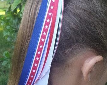 USA/Patriotic/4th of July Red White Blue Ribbon Streamer Pony-O/Ponytail Holder