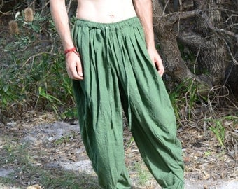 DHOTI PANTS Forest Green Men Khadi Pants Earthy Clothing Organic Natural Hand Woven Tribal Clothing Harem Dhoti Indian Pants