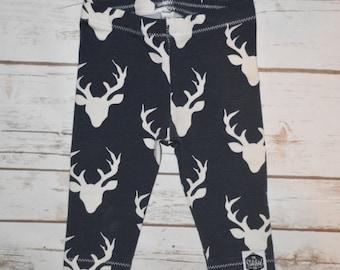 SALE || Baby Leggings, Toddler Leggings - Navy Deer Heads