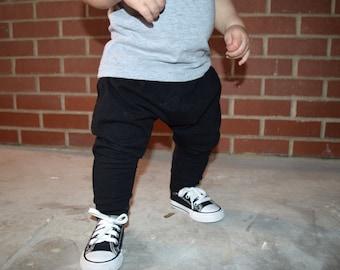 Solid Black - Baby Harem Pants, Toddler Harem Pants