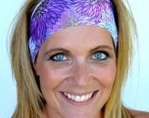 Yoga Headband Purple Lavendar Floral Workout Headband Spandex Headband Running Nurse Gift FREE Headband(s) Code BUY3GET1FREE or BUY6GET2FREE