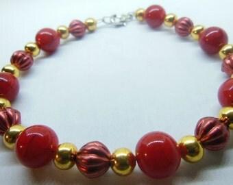 RED and gold bracelet, red bracelet, gold bracelet, handmade, christmas, valentines