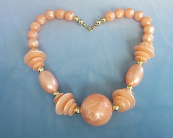 Vintage Glowing Peach Beaded Necklace