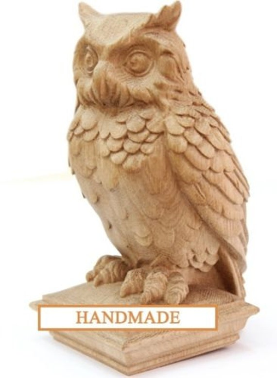 Owl high quality hand carved top for newel stair wood