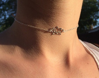 925 Sterling Silver Lotus Flower Choker