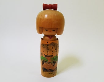 Vintage Japanese 18cm Signed Kokeshi Doll in a Tub