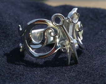 Scissor Ring - Solid 92.5 Sterling Silver - Any Size
