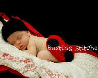 Ladybird  Hat  and  Tushie cover Photo prop Newborn