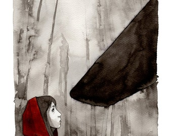 """Reproduction of illustration """"Le petit chaperon rouge"""" on beautiful paper"""