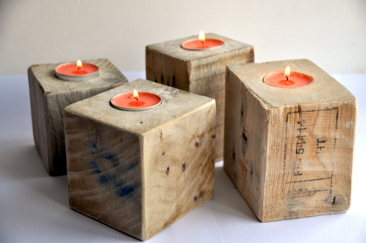 Reclaimed wood candle holder industrial rustic pallet candle Wood candle holders