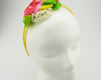 Headband (yellow, lime green, orange, pearl beads)