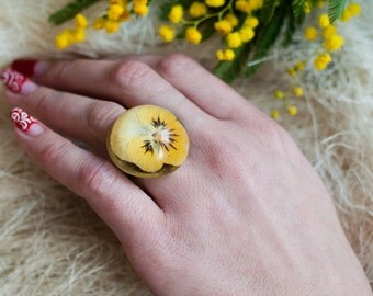 Pansy ring Pressed flowers resin jewelry Yellow flower ring dry flowers transparent ring Plant jewellery