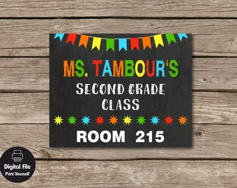 Personalized Teacher Name Door Sign, Classroom Organization, School Decor, Gift For Teacher, Classroom Door Hanger, School Grade Sign