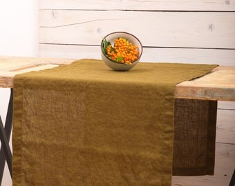 Linen Table Runner - Moss Green - Natural Flax Stone Washed Softened - Handmade Table Runners - Crumpled Linen - Rustic Wedding