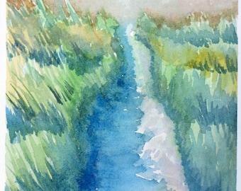 """Landscape Art, Lake Michighan Dune, Original Watercolor Painting, 7"""" x 10-3/4"""" on 80lb Watercolor Paper"""