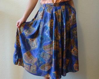 Vintage Skirt Women's Skirt High Waisted Skirt Floral Print Skirt Blue Purple Summer Skirt Lady Like Skirt Women Midi Skirt Size Large