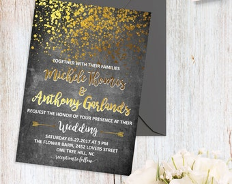 Black and Gold Wedding Invitations Modern Wedding Invitation Printable Gold Confetti Wedding Invite Digital File Simple Wedding Invitations