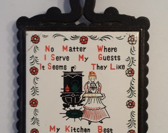 Cast Iron and Ceramic Kitchen Guest Trivet