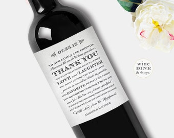 Thank You Wine Label Wedding Wine Label Favors