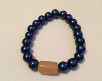 Blue and Peach Beaded Bracelet