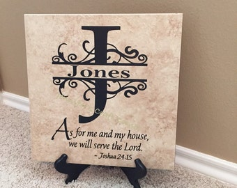 Scripture Sign, Scripture Tile, Scripture Decal, Scripture, Personalized Tile, Momogramm, Religious Gifts, Religious Art, Name Tile