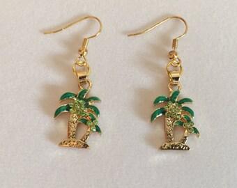 Sparkling Double Palm Tree Earrings