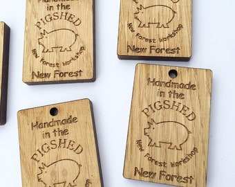 Product tags - custom business tags - handmade with love tags - business labels - kraft brown tags - wooden tags - shop tags 03BS set of 15