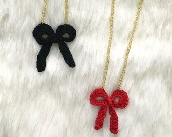 Crochet Bow Pendant Necklace