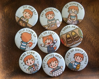 "KIDS PERSONAL Chore Magnets (BOY-3), 1 set = 9 pcs, Customizable chore magnets, 1.25"" 32mm, cute chore magnets, chore chart magnets"