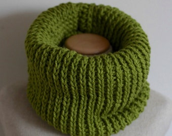Avocado green cowl scarf, knit infinity scarf, vegan clothing, loop circle scarf, tube scarf, vegan gift, ready to ship, hypo allergenic