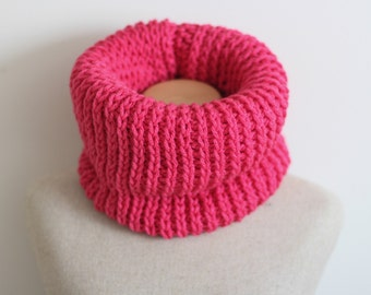 Hot pink infinity scarf, vegan, cowl, cruelty free, circle scarf, tube scarf, knitted, crocheted, ready to ship, hypo allergenic